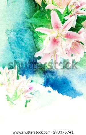 Abstract watercolor illustration of blossom lilly flower. Watercolor painting on paper. Floral watercolor illustration. - stock photo