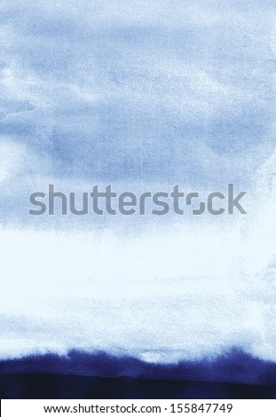abstract watercolor landscape, gloomy autumn - stock photo