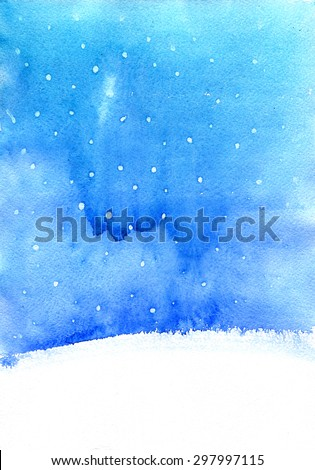 abstract watercolor landscape  with falling snow, winter watercolor background for New year or Christmas card,  blue and white backdrop, hand drawn illustration - stock photo