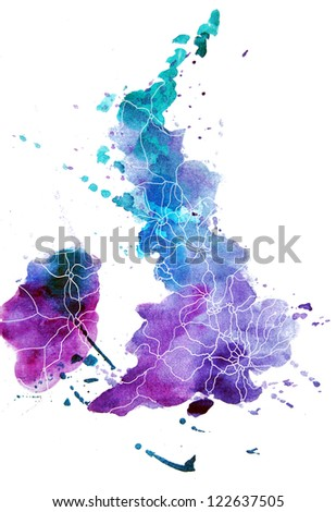 abstract watercolor map of the united kingdom of great Britain and northern Ireland - stock photo