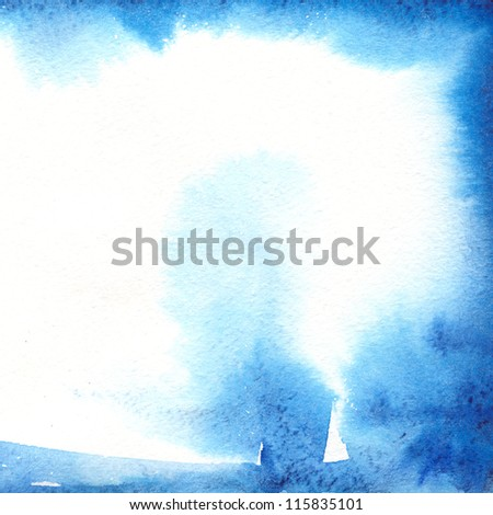 Abstract watercolor nand painted background. Place for your advertizing,  winter frame. - stock photo