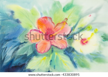 Abstract watercolor original painting pink orange yellow white color of hibiscus flower and green leaves in blue background.  - stock photo