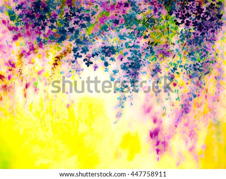 Abstract watercolor original painting purple,pink color of colorful  flowers  and green leaves of blue color background. - stock photo