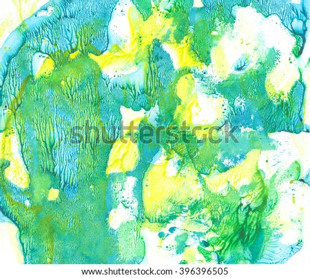 Abstract watercolor painted background. Monotype effect. Bright splash, macules, stains, spots on white backdrop. Beautiful colorful mix. Green, blue and yellow smudges.