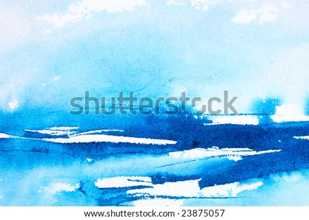 Abstract watercolor painted background with blue wash layers - stock photo
