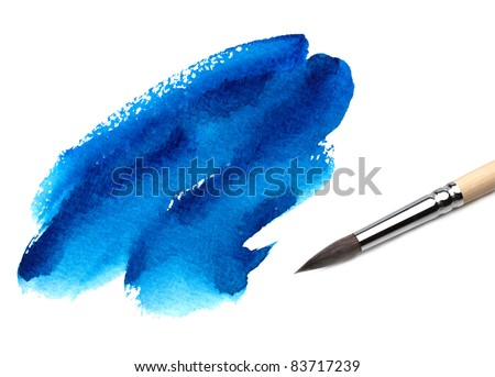 Abstract watercolor painted background with brush - stock photo