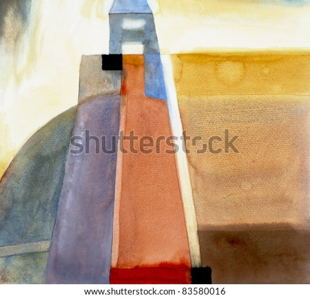 abstract watercolor painting - stock photo