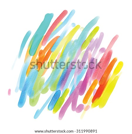 Abstract watercolor painting. Blot. Blurred spot. Blob. Freehand drawing. Isolated on white background - stock photo