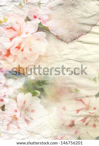 Abstract watercolor painting combined with flowers on soft paper texture - stock photo