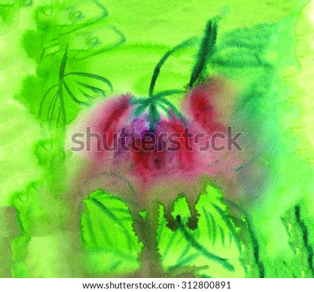Abstract watercolor painting. Green leaves and flower. Wet watercolor texture. - stock photo