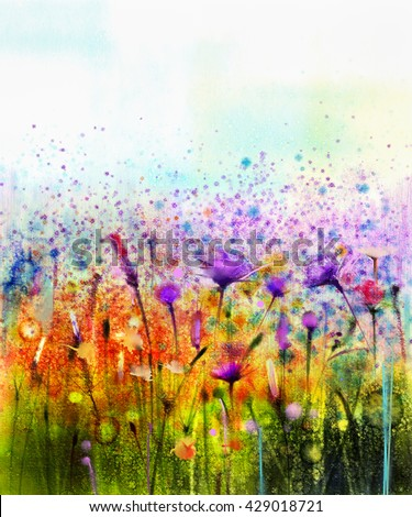 Abstract watercolor painting purple cosmos flower,cornflower, violet lavender, white and orange wildflower. Wild flowers meadow, green field paintings. Hand paint floral in meadows. Spring background - stock photo