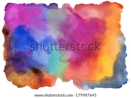 Abstract watercolor painting scanned in high resolution. Design element. - stock photo