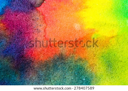 Abstract watercolor palette of blue colors, mix color, background, illustration,a mixture of colors, stains with a spray of water colors, the author's work. - stock photo