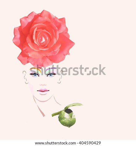 Abstract watercolor portrait of a model (girl), hat decorated with red roses, beauty logo, fashion summer, color  green flash, peach, coral, beautiful face - stock photo
