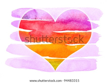 abstract watercolor purple heart - stock photo