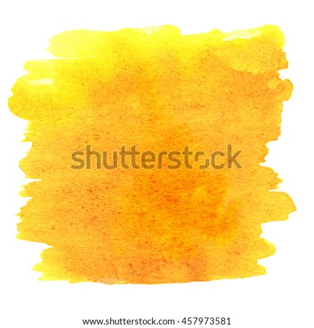 Abstract Watercolor round spot textured background.  Hand drawn watercolour Yellow Stain isolated over white. High resolution
