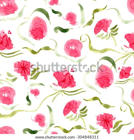 Abstract watercolor seamless background with roses. Floral bohemian background. Allover boho print.