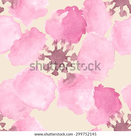 Abstract watercolor seamless pattern with sakura tree and rose flowers and leaves. Can be used for web pages, identity style, printing, invitations, banners. Raster version. - stock photo