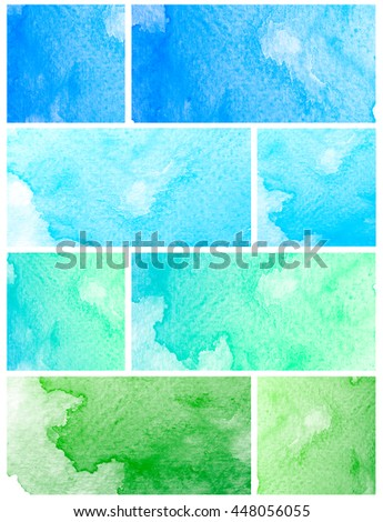 Abstract watercolor set on white background.