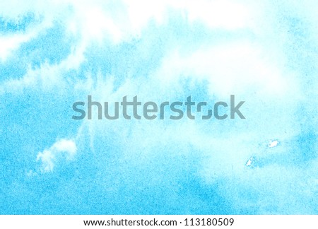 Abstract watercolor sky, clouds - stock photo