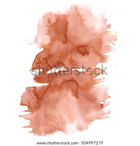 abstract watercolor splash. drop brown watercolor isolated blot for your design