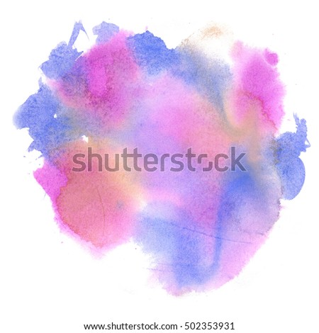 abstract watercolor splash. pink blue watercolor drop isolated blot for your design