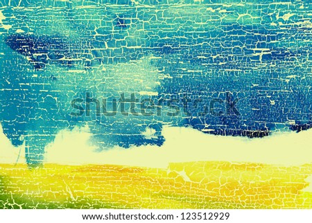 Abstract watercolor textured background: summer-themed landscape with yellow, blue, brown, and white patterns. For art texture, grunge design, and vintage paper / border frame