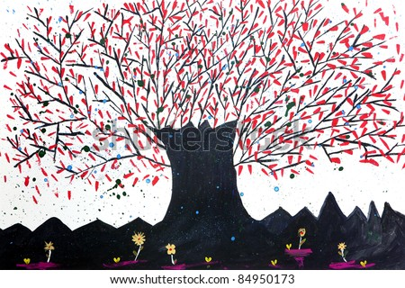 Abstract watercolor tree - stock photo