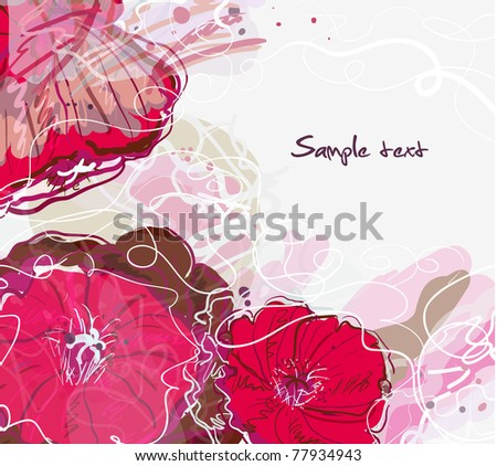 Abstract watercolor vector background with drawing flowers