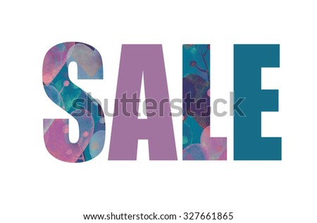 abstract watercolor word sale. fashion illustration