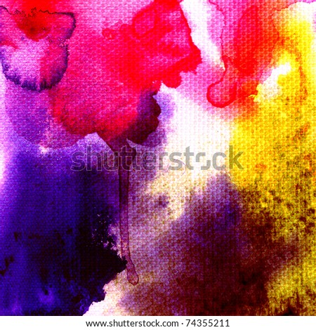 Abstract watercolors  texture on white fabric - stock photo