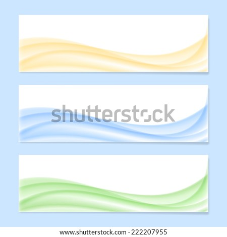 Abstract wave banner template. 2d illustration - stock photo