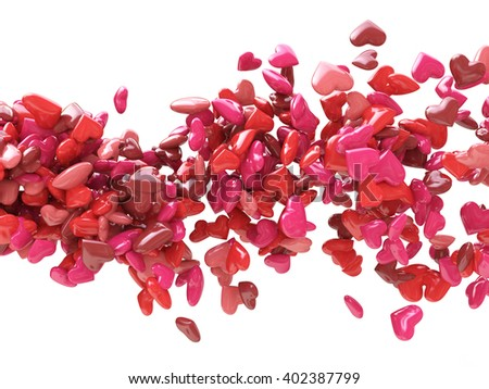 Abstract Wave of hearts for Valentines day.3D Illustration - stock photo