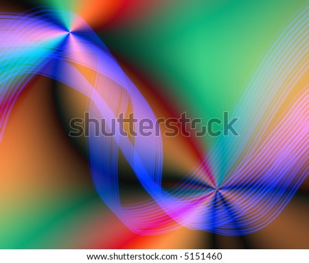 abstract wave rainbow background - stock photo