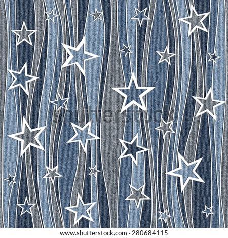 Abstract waves decor - Christmas style - decorative stars pattern - Interior Design wallpaper - wrapping paper - seamless background - blue jeans cloth - stock photo