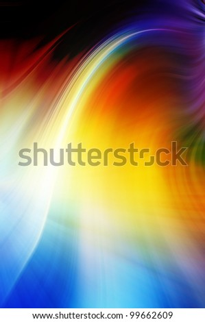 Abstract wavy background in blue, yellow and red tones. - stock photo