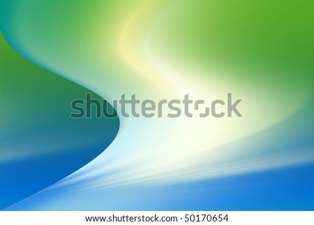 Abstract wavy background in green and blue tones. - stock photo