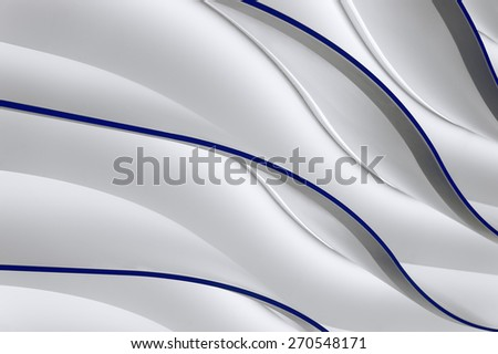 Abstract wavy glowing grey gradient and dark blue lines background - stock photo