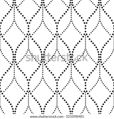 Abstract wavy pattern with points. A seamless background. Gray and white texture