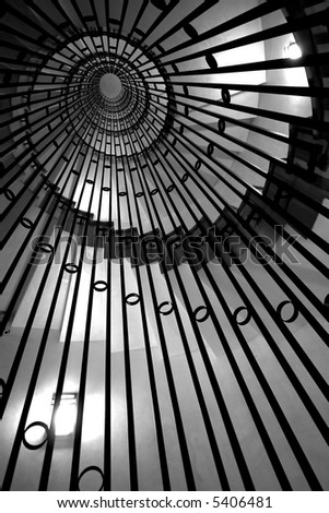abstract whirled staircase black and white - stock photo
