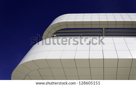 abstract white and blue architecture