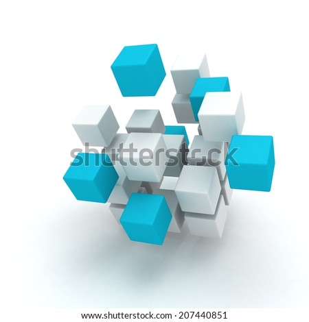 Abstract white and blue cubes structure - stock photo