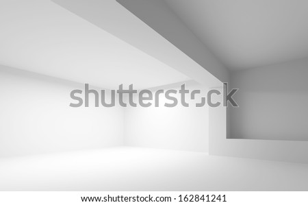 Abstract white architecture background. Empty 3d interior - stock photo