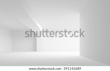 Abstract white architecture background. Empty interior. 3d illustration - stock photo