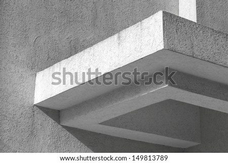 Abstract white architecture fragment with walls and decoration element - stock photo