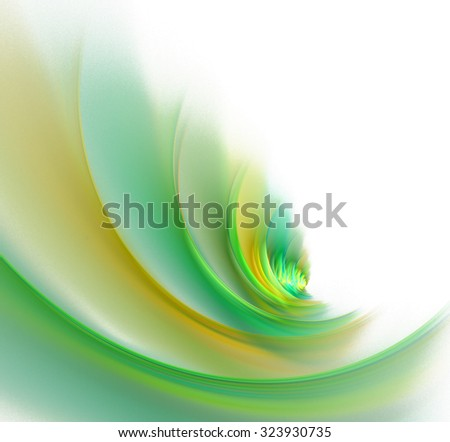 Abstract white background with green, orange and yellow colored pleats or waves texture, fractal - stock photo