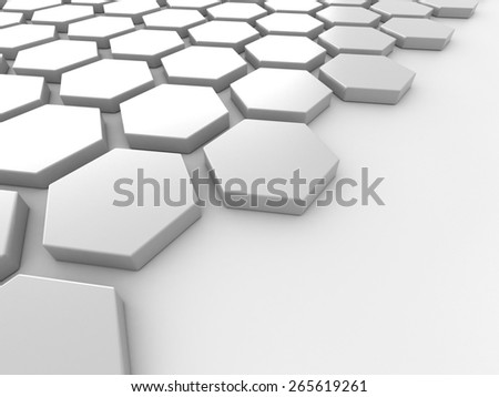 Abstract white background with hexagons and place 3D render - stock photo