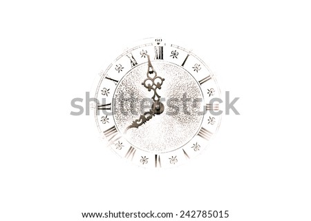Abstract white background with silhouette of a clock face. - stock photo