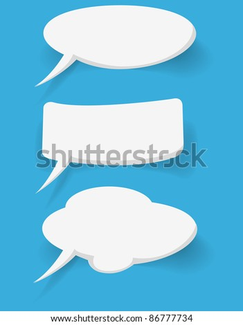 abstract white bubbles on blue background - stock photo