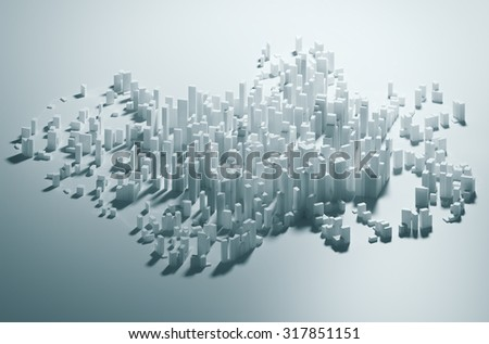 Abstract white city render -  skyscraper business office buildings concept  - stock photo
